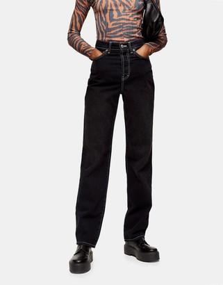 Topshop buckle detail carpenter jeans in washed black