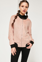 Missguided Contrast Rib Faux Suede Bomber Jacket Pink