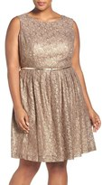 Ellen Tracy Plus Size Women's Belted Metallic Lace Pleat Fit & Flare Dress