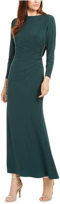 Adrianna Papell Petite Draped & Beaded Jersey Gown