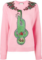Gucci crystal-embellished monkey jumper - women - Wool - XS