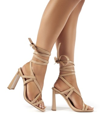 Public Desire Atlanta Nude PU Lace Up Block High Heels