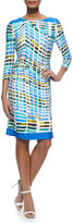 Kay Unger New York 3/4-Sleeve Printed Ruched Sheath Dress