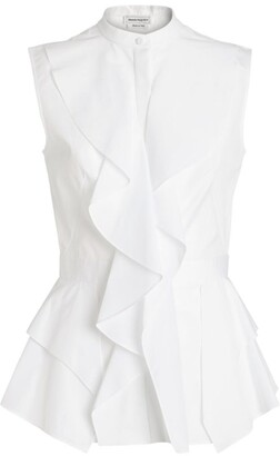 Alexander McQueen Cotton Ruffle Top