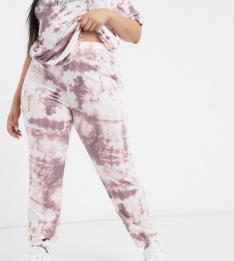 Yours tie dye co-ord joggers in pink