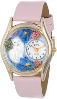 Whimsical Watches Kids' C0120002 Classic White Cat Pink Leather And tone Watch
