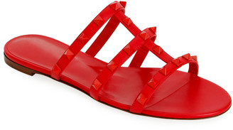 Valentino Garavani Tonal Rockstud Flat Leather Slide Sandals