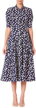Carolina Herrera Polka Dot 1/2-Sleeve Shirtdress