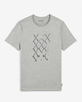 Express Gray Logo Grid Graphic T-Shirt