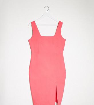 Vesper Plus square neck midi dress in pink