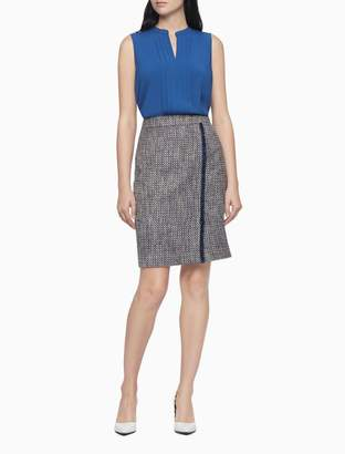 Boucle Frayed Stripe Pencil Skirt