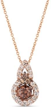 "LeVian Le Vian Chocolate Diamond (1/2 ct. t.w.) & Nude Diamond (1/3 ct. t.w.) 18"" Pendant Necklace in 14k Rose Gold"