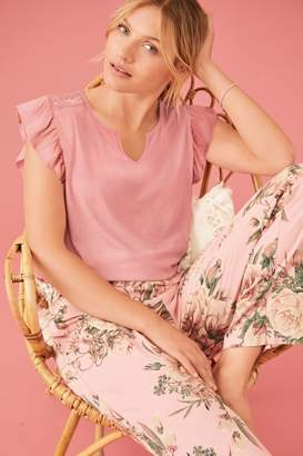 Next Womens Pink Floral Print Lace Trim Pyjamas - Pink