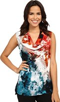 Adrianna Papell Women's Printed Cowl Neck Shell