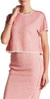 Rebecca Taylor Short Sleeve Tweed Ruffle Shirt