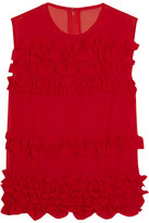 Comme des Garcons Ruffled Georgette Top - Red