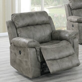 Red Barrel Studio Aubriana Faux Leather Power Recliner Fabric: Gray