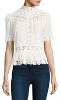 Rebecca Taylor Lace-Inset Eyelet Cotton Top