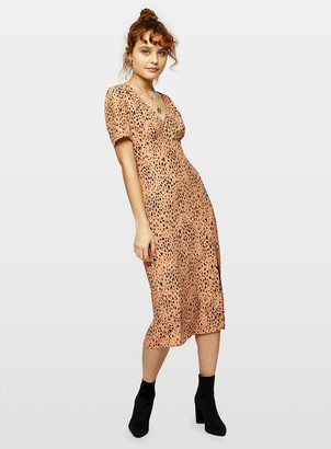 Miss Selfridge Beige Animal Print Midi Tea Dress