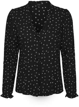 Vero Moda Graphic Print V-Neck Blouse with Long Sleeves