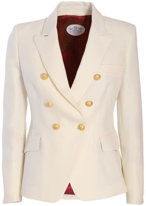 The Extreme Collection Classic Bone White Crossed Blazer Chloe