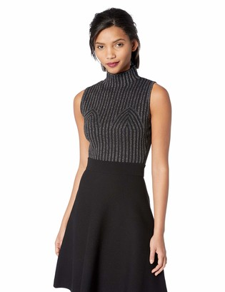 BCBGMAXAZRIA Women's Metallic Stripe Crop Top