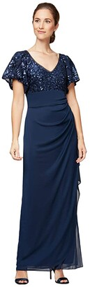 Alex Evenings Long Empire Waist Dress with Sequin Lace Bodice and Flutter Sleeves (Navy) Women's Dress