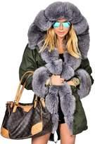 Roiii Women's Warm Winter Coat Hood Parka Overcoat Faux Fur Jacket Outwear