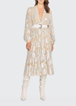 IRO Katte Floral Metallic Jacquard Dress