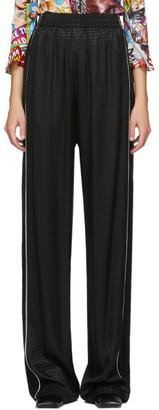 Balenciaga Black Satin Houndstooth Lounge Pants