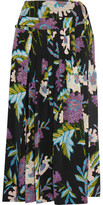 Diane von Furstenberg Pleated Printed Silk Crepe De Chine Wrap Skirt - Black