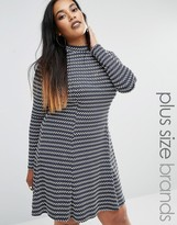 Club L Plus Jacquard Skater Dress