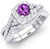 DazzlingRock Collection 1.55 Carat (ctw) 14K Rose Gold Amethyst & White CZ Bridal Engagement Ring Set 1 1/2 CT (Size 9)