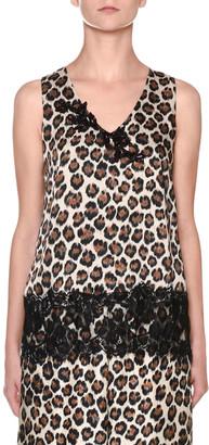 Antonio Marras Leopard-Print Sleeveless V-Neck Lace-Trim Top