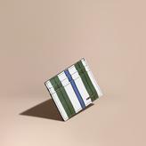 Burberry Pyjama Stripe London Leather Card Case, Green