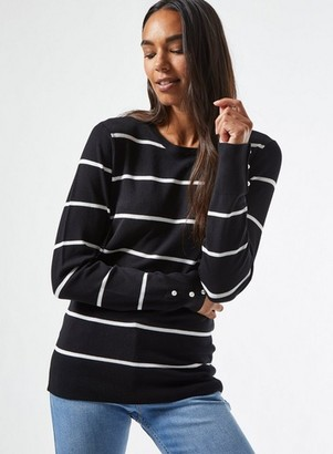 Dorothy Perkins Womens Black Stripe Crew Neck Jumper, Black