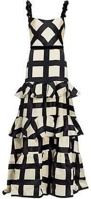 Johanna Ortiz Grid-Print Ruffle Embellished-Strap Silk Gown