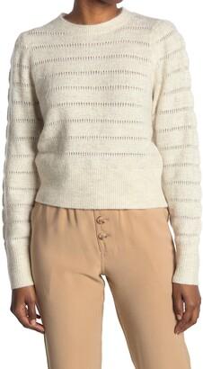 Elodie K Textured Crew Neck Knit Sweater