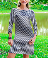 Black & White Abstract Three-Quarter Sleeve Dress