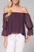 Honey Punch Off Shoulder Sheer Top