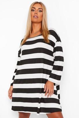 boohoo Plus Tonal Stripe Oversized Swing t-Shirt Dress