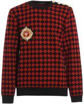 Balmain Logo Patch Checkered Wool Crewneck