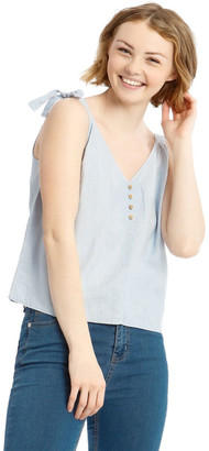 Miss Shop Button Through Linen Blend Tie Cami Lt