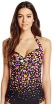 Anne Cole Women's Rosebud Floral Print Engineered Halter Tankini