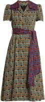 DURO OLOWU Geometric-print notch-lapel dress