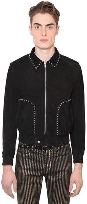 Saint Laurent Suede Jacket W/ Flower Studs