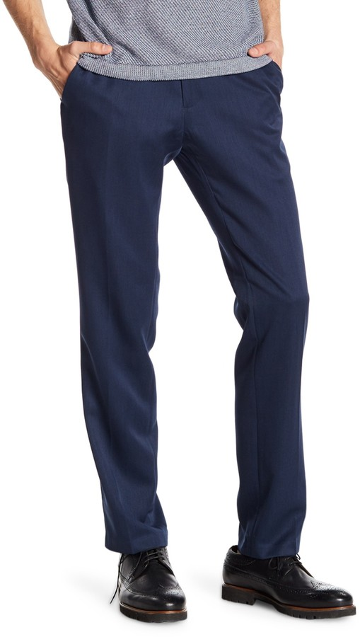 Kenneth Cole Reaction Men/'s Box Weave Flat Front Slim Fit Dress Pants Med Blue