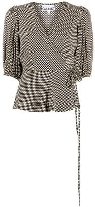 Ganni checkered V-neck wrap blouse