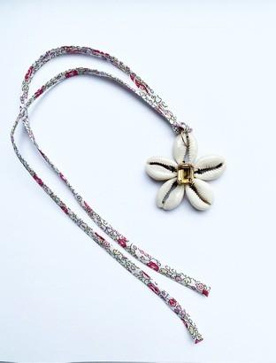 Jennifer Creel Citrine Rectangular Cowrie Shell Necklace