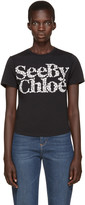 See by Chloe Black Floral Logo T-Shirt